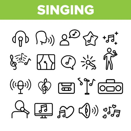 Collection Different Singing Icons Set Vector Thin Line. Singing And Listening Song And Music In Karaoke, Concert, Tape-recorder Or Audiophone Linear Pictograms. Monochrome Contour Illustrations Illustration