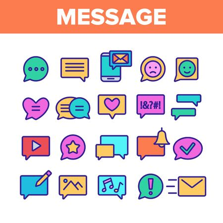 Color Different SMS Message Icons Set Vector Thin Line. Conversation Service, SMS Message, Notification, Group Chat Assortment Linear Pictograms. Contour Illustrations Stock Illustratie