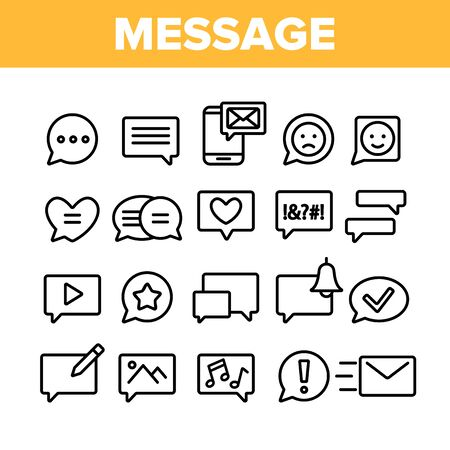 Collection Different SMS Message Icons Set Vector Thin Line. Conversation Service, SMS Message, Notification, Group Chat Assortment Linear Pictograms. Monochrome Contour Illustrations