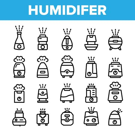 Collection Different Humidifier Icons Set Vector Thin Line. Climatic System Equipment Humidifer Assortment Linear Pictograms. Steam, Humidification, Water Monochrome Contour Illustrations