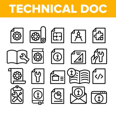 Documentazione tecnica linea sottile set di icone vettore. Raccolta di pittogrammi lineari di documentazione tecnica. Illustrazioni di contorno monocromatiche di piano, istruzioni, progetto e manuale Vettoriali