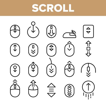 Collection Scroll Thin Line Sign Icons Set Vector. Computer Mouse Device And Web Site Page Up And Down Scroll Linear Pictograms. Interface Elements Concept Monochrome Contour Illustrations Ilustrace