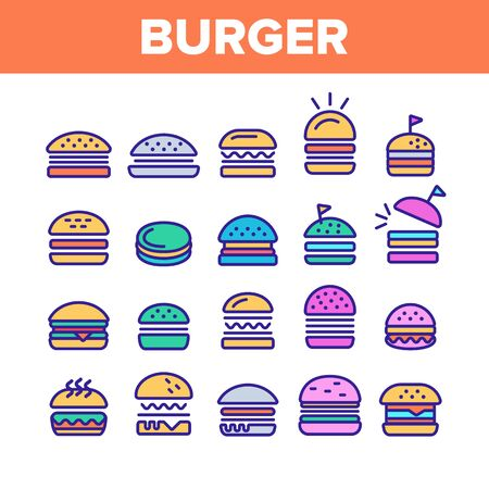Color Delicious Burger Sign Icons Set Vector Thin Line. Unhealthy Restaurant Fast Food Burger Linear Pictograms. Hamburger Fried Meat Among Buns Contour Illustrations