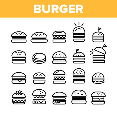 Collection Delicious Burger Sign Icons Set Vector Thin Line. Unhealthy Restaurant Fast Food Burger Linear Pictograms. Hamburger Fried Meat Among Buns Monochrome Contour Illustrations