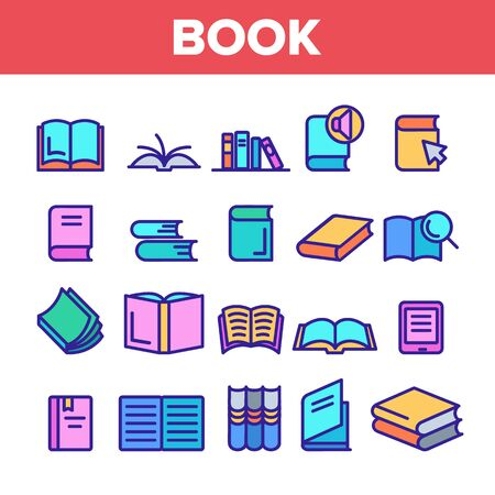 Color Library Book Sign Icons Set Vector Thin Line. Opened And Closed Publishing Book For Education And Reading Linear Pictograms. Literature Bookstore Contour Illustrations Stock Illustratie