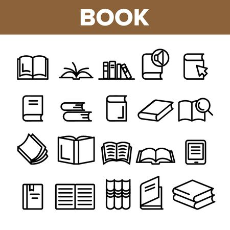 Collection Library Book Sign Icons Set Vector Thin Line. Opened And Closed Publishing Book For Education And Reading Linear Pictograms. Literature Bookstore Monochrome Contour Illustrations
