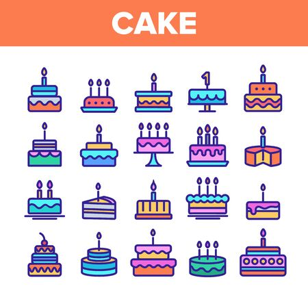 Color Birthday Cake Sign Icons Set Vector Thin Line. Sweet Dessert Cream Cake And Pie With Candles Linear Pictograms. Anniversary Celebration Delicious Food Contour Illustrations Stock Illustratie