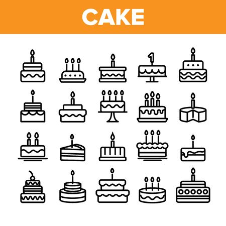 Collection Birthday Cake Sign Icons Set Vector Thin Line. Sweet Dessert Cream Cake And Pie With Candles Linear Pictograms. Anniversary Celebration Delicious Food Monochrome Contour Illustrations Stock Illustratie