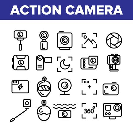 Collection Action Camera Sign Icons Set Vector Thin Line. Types Of Camera Linear Pictograms. Device Stick And Object Glass, Recording Mode And Watertight Housing Monochrome Contour Illustrations Illustration
