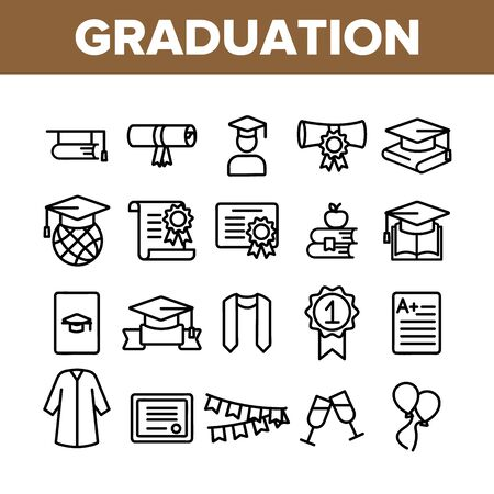 Collection Graduation Thin Line Icons Set Vector. Certificate And Diploma, School, College Or University Graduation Elements Linear Pictograms. Academic Details Monochrome Contour Illustrations 스톡 콘텐츠 - 128811310