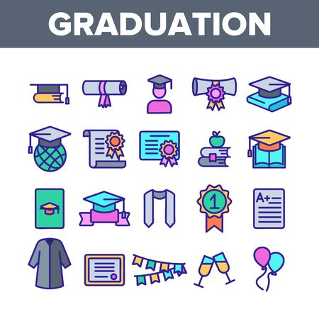 Color Graduation Thin Line Icons Set Vector. Certificate And Diploma, School, College Or University Graduation Elements Linear Pictograms. Academic Details Contour Illustrations 스톡 콘텐츠 - 128811319