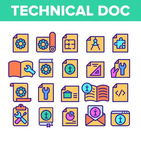 Colore documentazione tecnica linea sottile set di icone vettore. Raccolta di pittogrammi lineari di documentazione tecnica. Piani, istruzioni, progetti e illustrazioni di contorno manuali Vettoriali