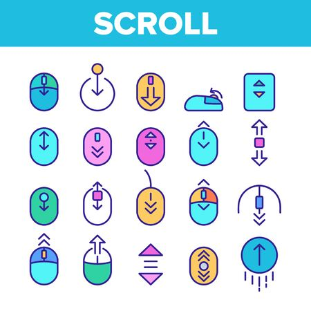 Color Scroll Thin Line Sign Icons Set Vector. Computer Mouse Device And Web Site Page Up And Down Scroll Linear Pictograms. Interface Elements Illustrations