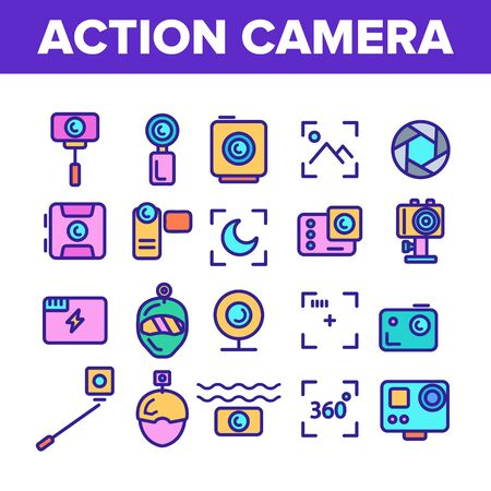 Color Action Camera Sign Icons Set Vector Thin Line. Types Of Camera Linear Pictograms. Device Stick And Object Glass, Recording Mode And Watertight Housing Contour Illustrations
