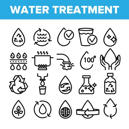 Collection Water Treatment Signs Icons Set Vector Thin Line. Water Healthy Drop With Mark Of Purity And Recycle, World And Plant Linear Pictograms. Monochrome Contour Illustrations