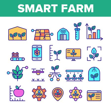 Color Smart Farm Elements Icons Set Vector Thin Line. Innovation Electronic Technology And Watering Plant Smart Farm Computer Control Linear Pictograms. Illustrations