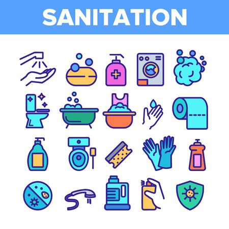 Color Sanitation Elements Icons Set Vector Thin Line. Washing Hand And Clean, Soap Protection And Bacteria Hygiene And Sanitation Linear Pictograms. Illustrations Çizim