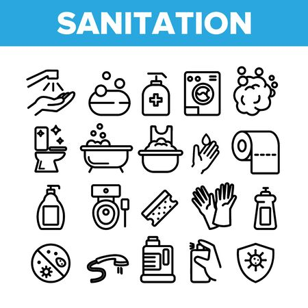 Collection Sanitation Elements Icons Set Vector Thin Line. Washing Hand And Clean, Soap Protection And Bacteria Hygiene And Sanitation Linear Pictograms. Monochrome Contour Illustrations