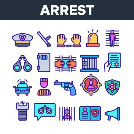 Color Arrest Elements Sign Icons Set Vector Thin Line. Police Car, Alarm Siren And Hat, Gun And Badge, Prison And Handcuffs Arrest Equipment Linear Pictograms. Illustrations Ilustração