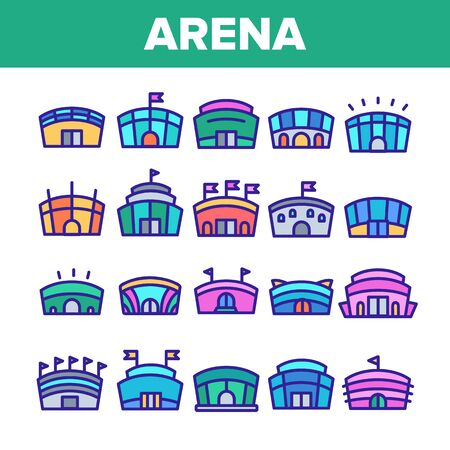 Color Arena Buildings Sign Icons Set Vector Thin Line. Different Exterior Architecture Of Arena Stadium Linear Pictograms. Complex For Championship Games Illustrations