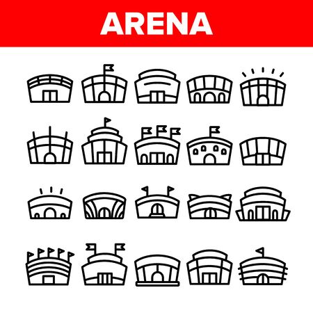 Collection Arena Buildings Sign Icons Set Vector Thin Line. Different Exterior Architecture Of Arena Stadium Linear Pictograms. Complex For Championship Games Monochrome Contour Illustrations