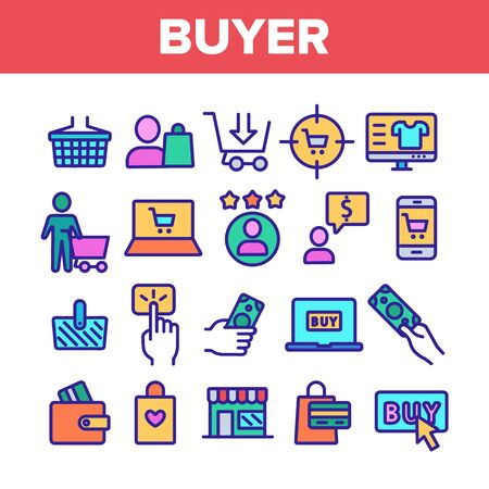 Color Buyer Elements Signs Icons Set Vector Thin Line. Internet Supermarket On Smartphone And Computer Laptop Monitor And Buyer Shopping Basket Linear Pictograms. Illustrations Illusztráció