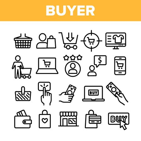 Collection Buyer Elements Signs Icons Set Vector Thin Line. Internet Supermarket On Smartphone And Computer Laptop Monitor And Buyer Shopping Basket Linear Pictograms. Monochrome Contour Illustrations