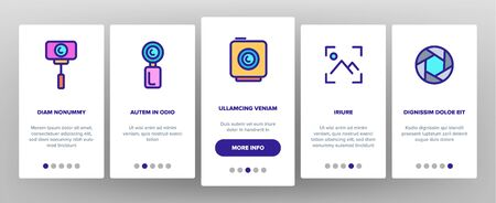 Color Action Camera Onboarding Mobile App Page Screen Vector Thin Line. Types Of Camera Linear Pictograms. Device Stick And Object Glass, Recording Mode And Watertight Housing Illustrations