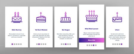Color Birthday Cake Onboarding Mobile App Page Screen Vector. Sweet Dessert Cream Cake And Pie With Candles Linear Pictograms. Anniversary Celebration Delicious Food Illustrations Stock Illustratie