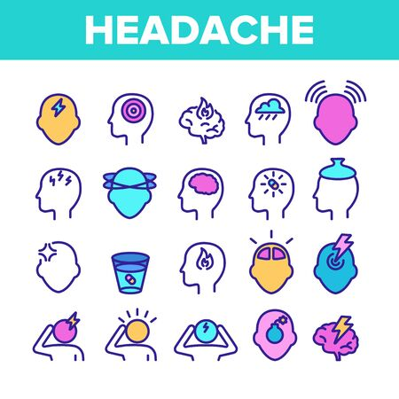 Color Headache Elements Icons Set Vector Thin Line. Migraine Brain, Tension And Cluster Headache Symptom Linear Pictograms. Head Medical Problem Illustrations 일러스트