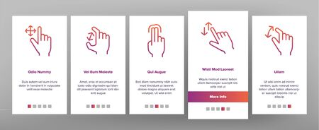 Color Swipe Gesture Touches Vector Onboarding Mobile App Page Screen. Touchscreen Swipe Gesturing. Drag Finger In Various Directions Pictograms Collection. Using Sensory Devices Illustration