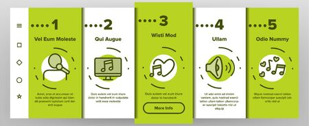 Color Different Singing Icons Set Vector Onboarding Mobile App Page Screen. Singing And Listening Song And Music In Karaoke, Concert, Tape-recorder Or Audiophone. Illustrations