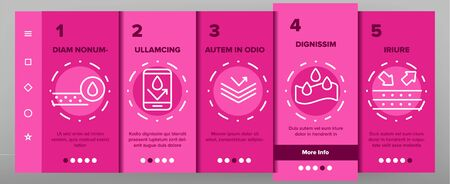 Color Waterproof, Water Resistant Materials Vector Onboarding Mobile App Page Screen. Waterproof, Surface Protection. Hydrophobic Fabric Pictograms Collection. Anti Wetting Material Illustration Ilustração