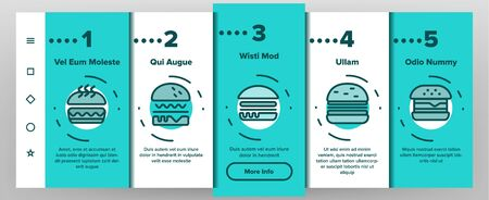 Color Delicious Burger Onboarding Mobile App Page Screen Vector. Unhealthy Restaurant Fast Food Burger Linear Pictograms. Hamburger Fried Meat Among Buns Contour Illustrations Stock Illustratie