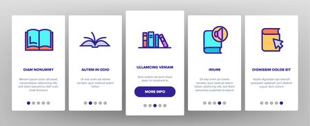 Color Library Book Onboarding Mobile App Page Screen Vector Thin Line. Opened And Closed Publishing Book For Education And Reading Linear Pictograms. Literature Bookstore Contour Illustrations