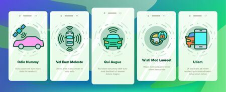 Smart Car Onboarding Mobile App Page Screen Vector Thin Line. Intelligence Control And Security, Network Navigation And Autopilot Smart Car Devices Linear Pictograms. Illustrations