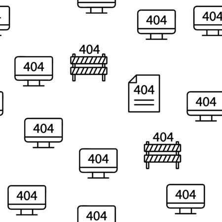404 HTTP Error Message Vector Seamless Pattern Contour Illustration 写真素材 - 129400715