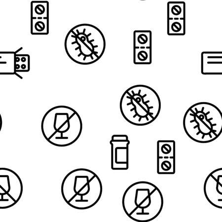 Antibiotic Medical Seamless Pattern Vector. Contour Illustration