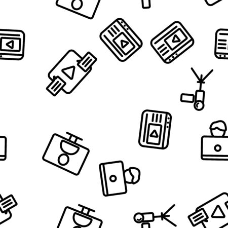 Action Camera Seamless Pattern Vector Contour Illustration Illustration