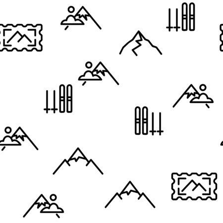 Mountain Alps Seamless Pattern Vector Contour Illustration
