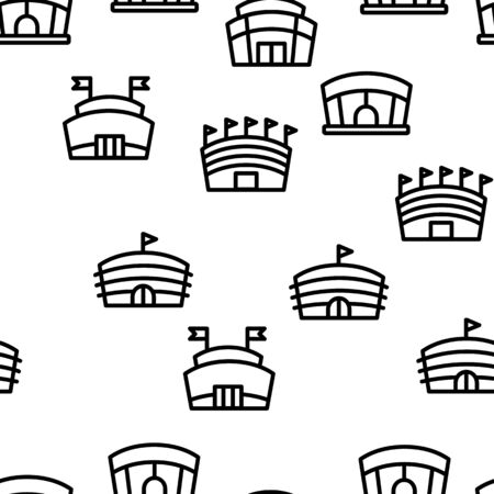 Arena Buildings Seamless Pattern Vector Contour Illustration