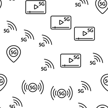 5G Fast Network, Connection To Website Vector Seamless Pattern Illustration