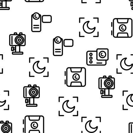 Modern Blogger Seamless Pattern Vector. Contour Illustration