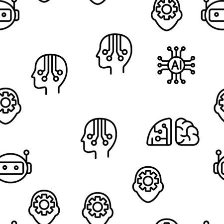 Artificial Intelligence Elements Vector Seamless Pattern Contour Illustration