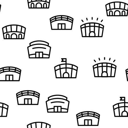 Arena Buildings Seamless Pattern Vector Contour Illustration