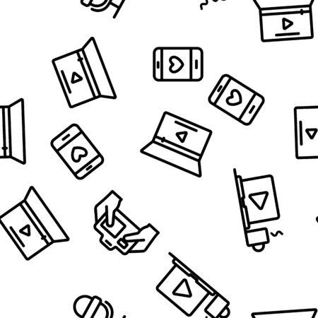 Modern Video Blogger Seamless Pattern Vector Illustration
