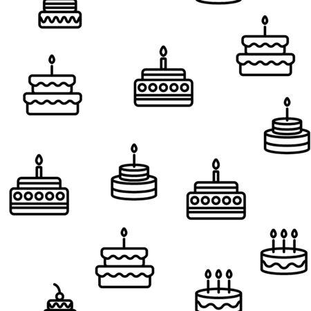Birthday Cake Seamless Pattern Vector Contour Illustration