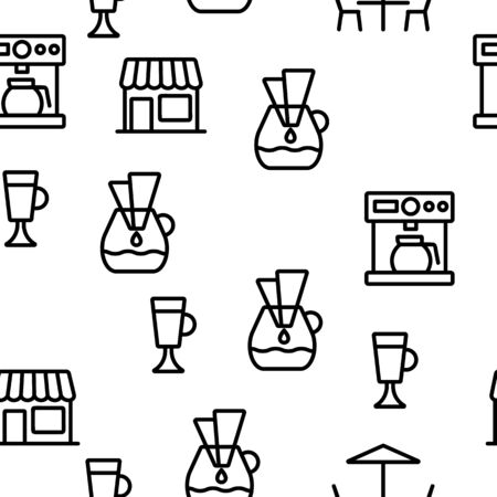 Barista Equipment Seamless Pattern Vector Contour Illustration