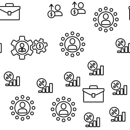Affiliate Elements Vector Seamless Pattern Contour Illustration Çizim