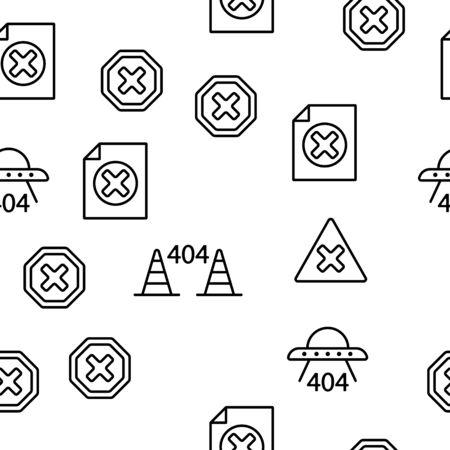 404 HTTP Error Message Vector Seamless Pattern Contour Illustration Çizim